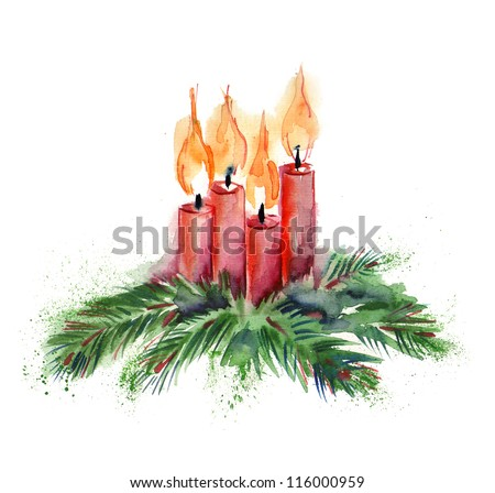 Watercolor Christmas Candles - stock photo