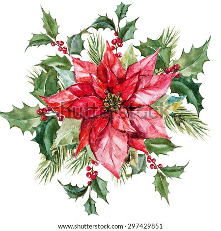 watercolor Christmas composition with poinsettia flowers, branches tree, red berries, - stock photo