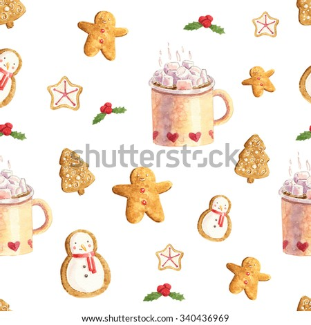 Watercolor christmas cute illustrations collection. Christmas pattern for scrapbook and design. - stock photo