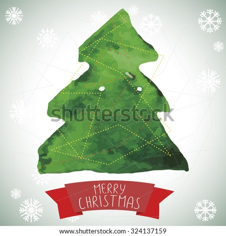 Watercolor Christmas greeting card with Christmas tree and a ribbon with a congratulation - stock photo