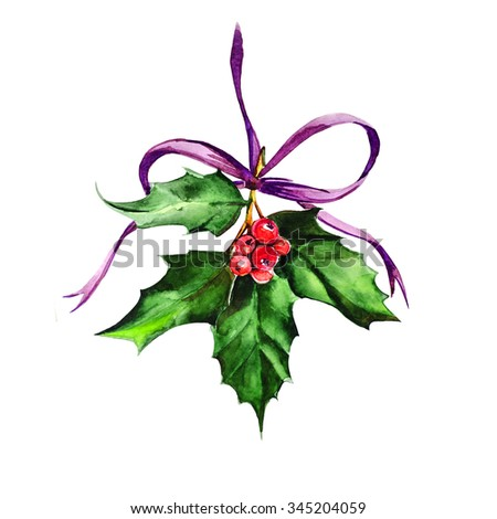 Watercolor christmas holly, illustration - stock photo