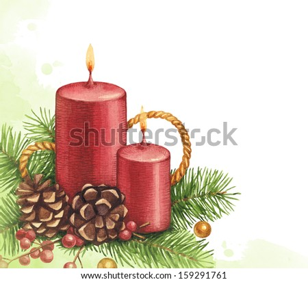 Watercolor Christmas illustration. Candle and pine with decorations - stock photo