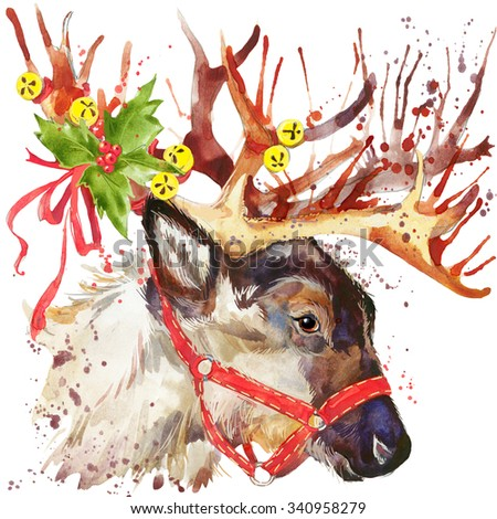 watercolor Christmas reindeer. T-shirt graphics. watercolor winter holidays background. illustration. Holiday Design. watercolor Reindeer for fashion print, poster for textiles, fashion design - stock photo