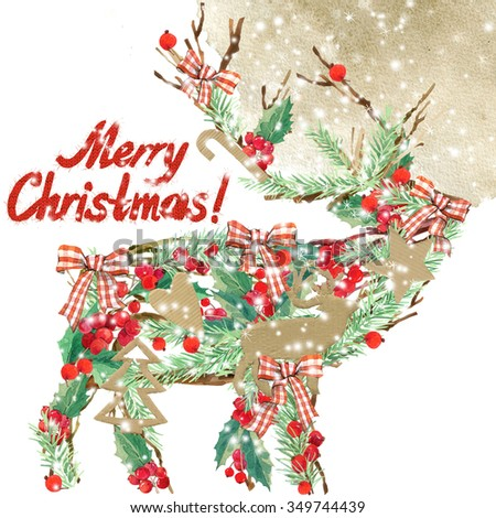 watercolor Christmas reindeer. Wish Merry Christmas text. watercolor winter holidays background. illustration Christmas tree, reindeer, mistletoe branch, mistletoe berry, holly branches, snowflake.  - stock photo
