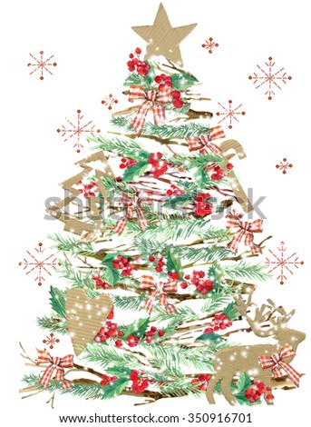 watercolor Christmas tree background. watercolor Christmas tree, reindeer, holly branches, snow, snowflake, forest tree branch background. Christmas Tree. Holiday Design.  - stock photo