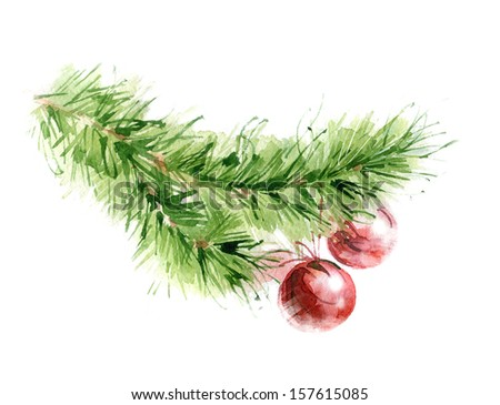 watercolor christmas tree branch with red balls - stock photo