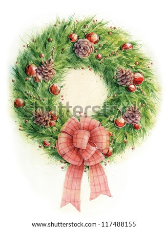 Watercolor Christmas wreath - stock photo
