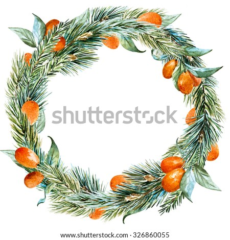 watercolor Christmas wreath with christmas tree, orange, round frame, holiday Christmas - stock photo