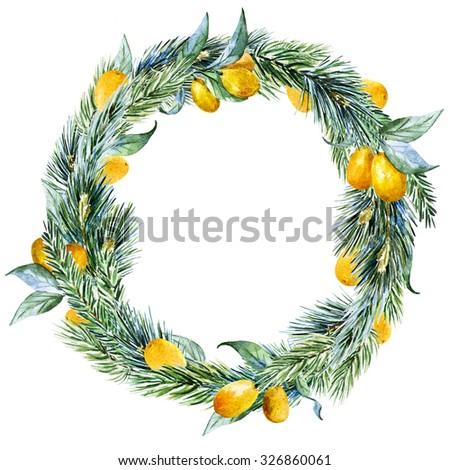 watercolor Christmas wreath with fir tree, lemon, round frame, holiday Christmas - stock photo