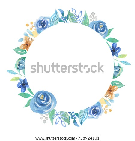 Watercolor Circle Frame Blue Navy Flower Berries Border
