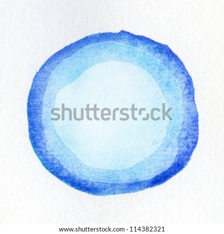Watercolor circle shape on paper texture - stock photo