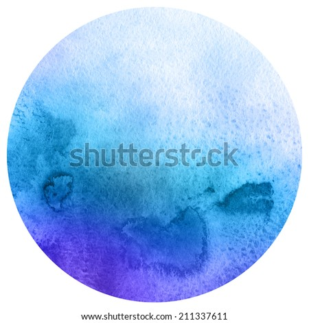 Watercolor circle. Watercolor stain isolated on white background. Watercolour palette. - stock photo