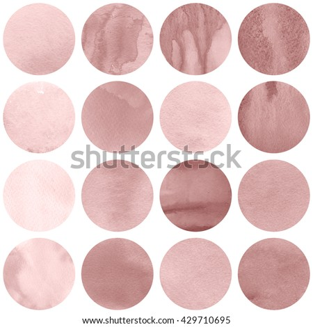 Watercolor circles collection  in pink colors. Watercolor stains set isolated on white background. Rose quartz tint palette. Seamless retro geometric pattern.