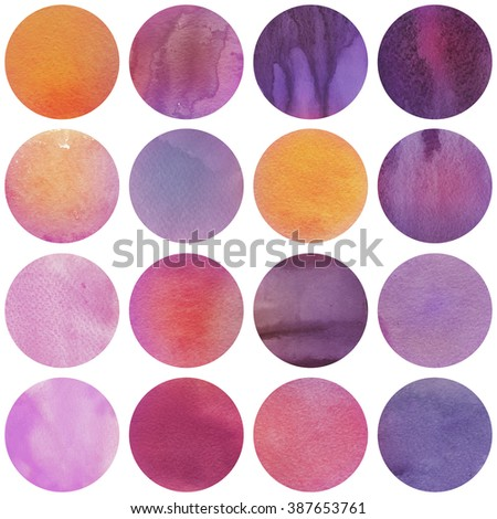 Watercolor circles collection  in purple, orange and lilac colors. Watercolor stains set isolated on white background. Bright tints palette. Seamless retro geometric pattern. - stock photo