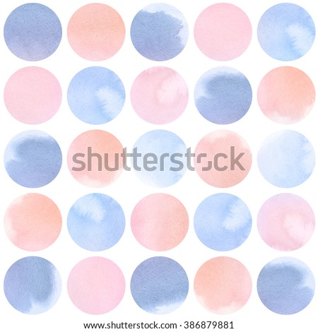 Watercolor circles collection  in rose and lilac colors. Watercolor stains set isolated on white background. Rose Quartz Tint and Serenity tint palette. Seamless retro geometric pattern.
