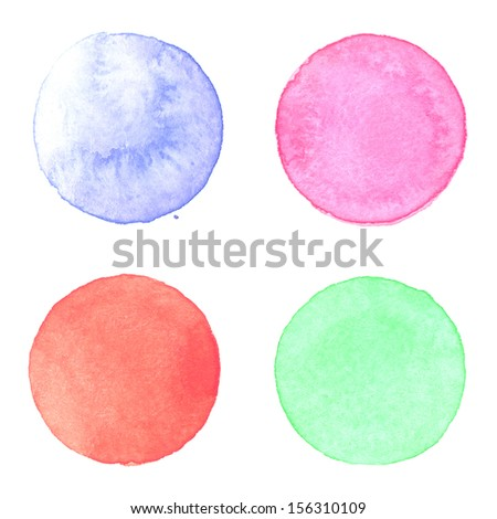 Watercolor circles collection. Watercolor stains set isolated on white background. Watercolour palette of light blue, magenta, red and emerald green paint - stock photo