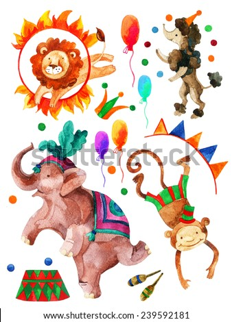 Watercolor circus. Cartoon elephant, monkey, lion and dog. Hand painted illustration - stock photo