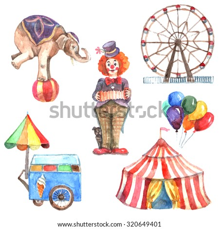 Watercolor circus decorative icons set with elephant clown and ferris wheel isolated  illustration - stock photo