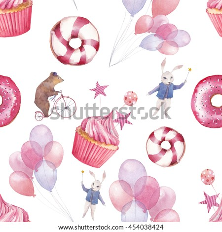 Watercolor Circus Seamless Pattern Wallpaper With Party Air Balloons Donuts Cupcakes And Fantasy