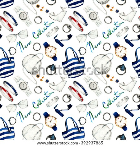Watercolor Clothes Illustration. set outfit.seamless pattern. summer beach stylish and trendy accessories. bags, shoes, rings, earrings, studs, sunglasses, bracelets, wrist watch - stock photo