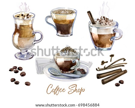 Watercolor Coffee Art Cup Hot Set Stock Illustration ...
