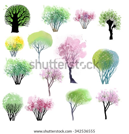 Watercolor collection of spring tree - stock photo