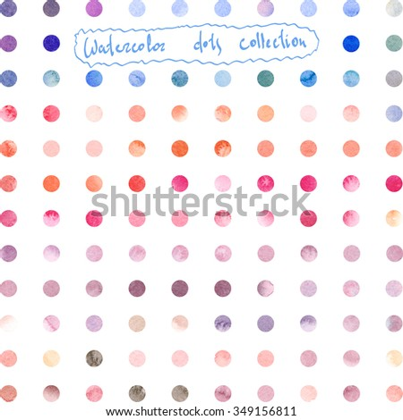 Watercolor collection with simple polka dot pattern. Retro hand drawn circles ornament. Round shapes pattern with isolated  pink, blue, violet, purple spots. Grunge colorful rounds shapes. - stock photo
