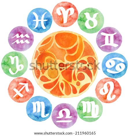 Watercolor collection zodiac signs set with texture colorful background - stock photo