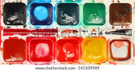 watercolor color palette background - stock photo