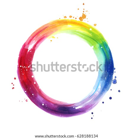 Watercolor Color Wheel Hand Painted Rainbow Background Copy Space