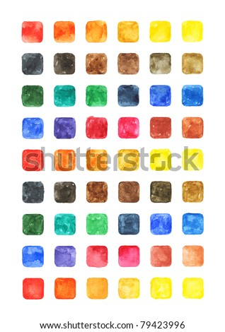 Watercolor colored blank rounded square shapes web buttons on white background - stock photo