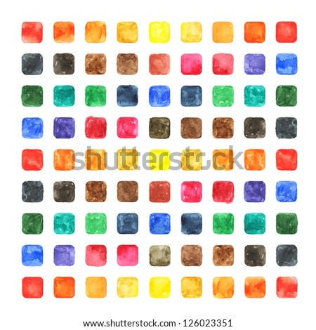 Watercolor colored blank rounded square shapes web buttons on white background. Abstract aquarelle colorful backdrop. Hand made technique image of square format - stock photo