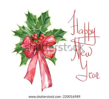 Watercolor colorful Christmas mistletoe card and frame set - stock photo