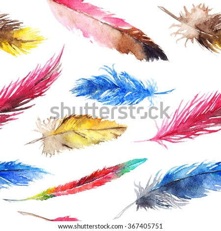 Watercolor colorful feather seamless pattern background texture