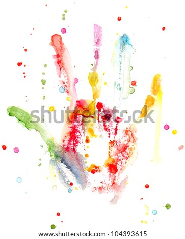 Watercolor colorful hand print with splashes - stock photo