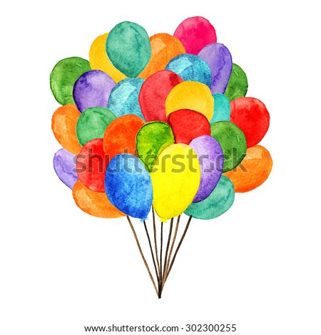 Watercolor colorful holiday balloons closeup isolated on white background. Hand painting on paper - stock photo