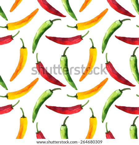 Watercolor colorful seamless pattern with vegetable red hot chili peppers, capsaicin closeup on white background. Hand painting on paper - stock photo