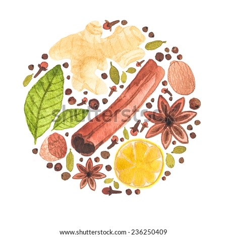 Watercolor concept with different spices for mulled wine or cooking.  Aquarelle hand drawn background for blog, web design, scrapbooks, party invitations and wedding cards. - stock photo