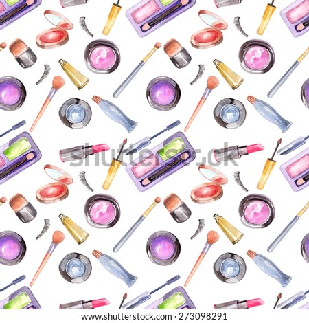 Watercolor cosmetics pattern, beautiful seamless illustration over white - stock photo