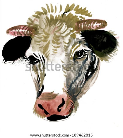 Watercolor cow on white background - stock photo