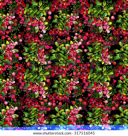 Watercolor cranberry seamless pattern