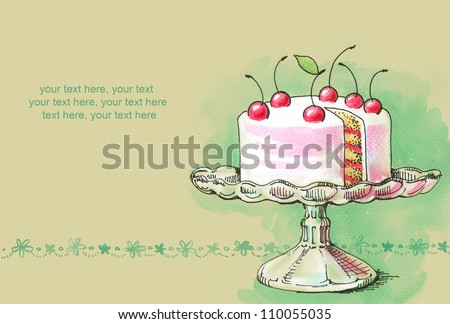 watercolor cream cake with cherries - stock photo