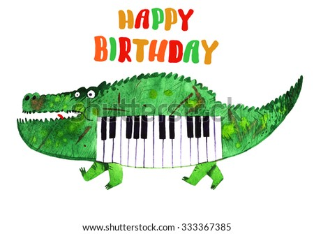 watercolor crocodile, piano crocodile,happy birthday logo, cartoon illustration isolated on white background - stock photo