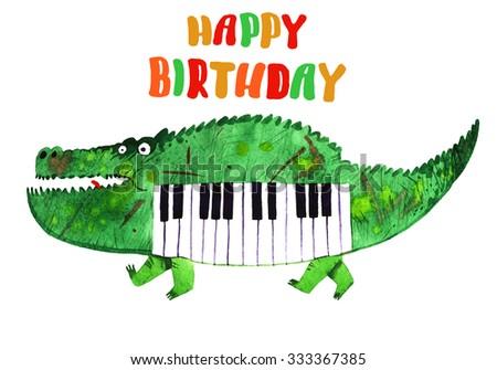 watercolor crocodile, piano crocodile,happy birthday logo, cartoon illustration isolated on white background - stock photo