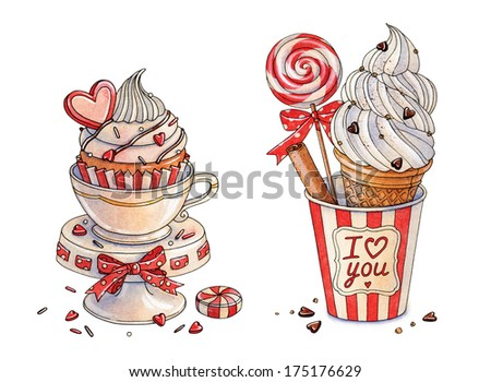 Watercolor cupcake and Ice cream. Happy Valentine's Day - stock photo