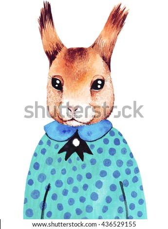 Watercolor cute hipster squirrel. Hand drawn fashion animal illustration. - stock photo
