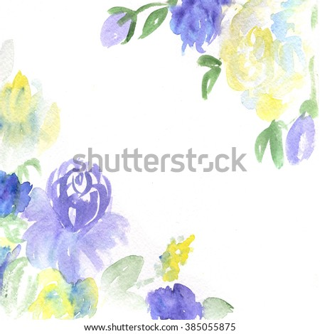 watercolor dark blue and yellow flowers  - stock photo