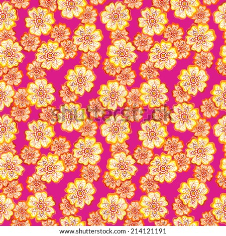 Watercolor decorative flowers - floral ornate design. Seamless repeated pattern.