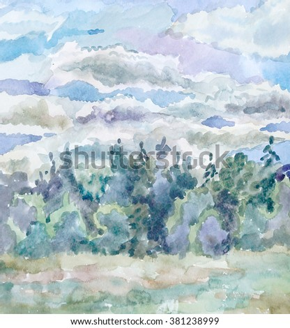 Watercolor decorative forest background