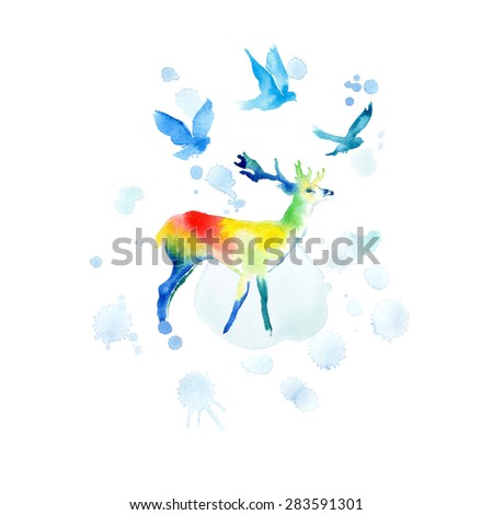 Watercolor deer. - stock photo